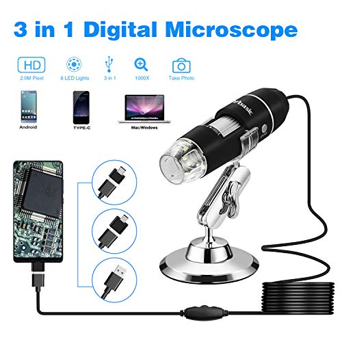 USB Microscope, Skybasic 50X to 1000X Digital Handheld Microscopes Camera 8 LED 1080P 2.0 Megapixels USB USB-C Magnification Compatible with Android Mac Windows Devices