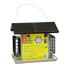 Stokes Select Large Hopper Bird Feeder With Metal Roof And Suet Cake Holders, 6 lb Seed Capacity and Two Suet Cake Capacity