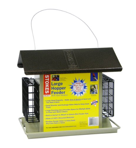 Stokes Select Large Hopper Bird Feeder with Two Suet Cake Holders, 6lb Seed Capacity - Seed Suet Holder