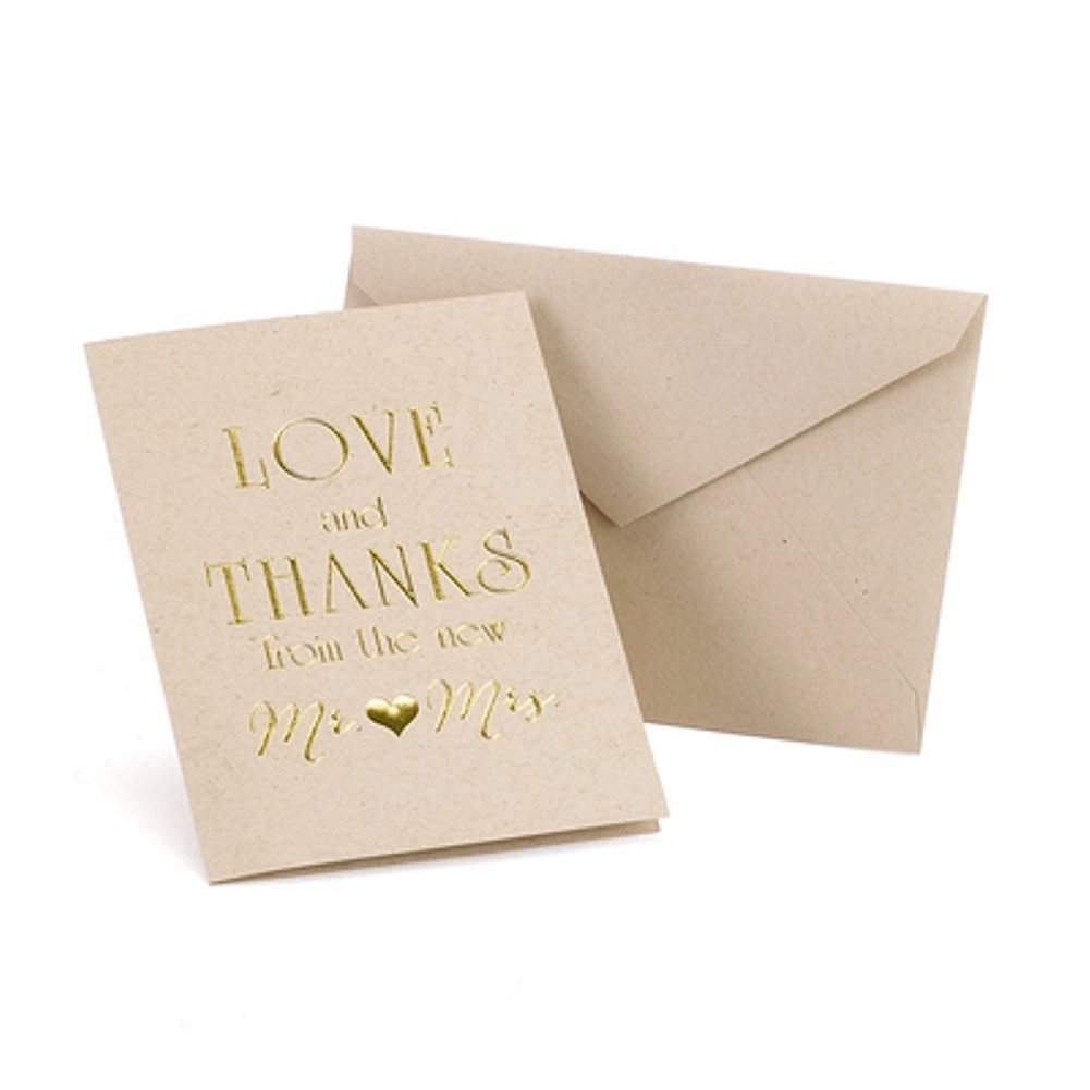 Love and Thanks Wedding Thank You Cards With Envelopes (200)