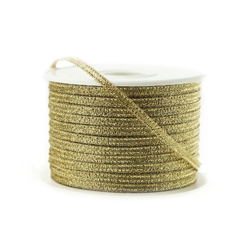 Nylon Taffeta Metallic Ribbon, 100 Yards, 1/8-inch - Gold by Party (Metallic Taffeta)