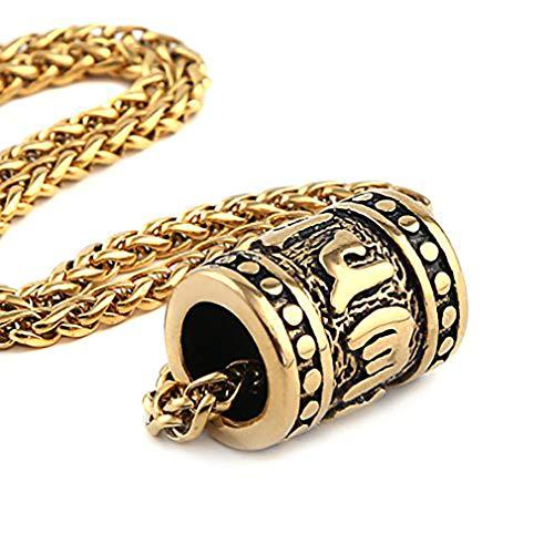 HZMAN Tibetan Zen Buddhist Meditation Yoga Bohemian Stainless Steel Jewelry Pendant Necklace, Gold