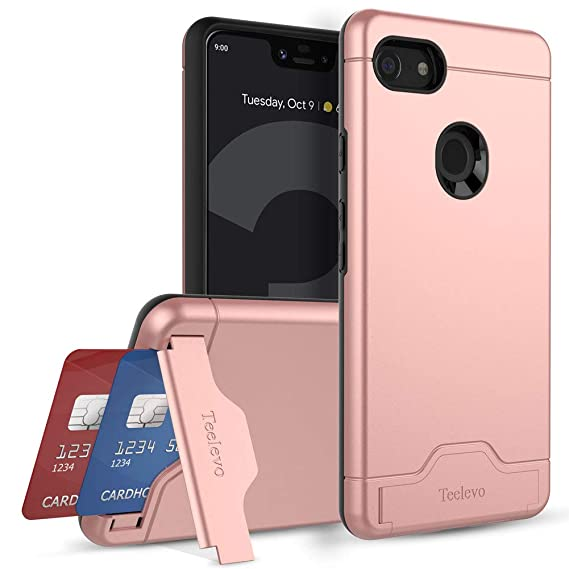 best website 2fcdb 57b30 Teelevo Wallet Case for Google Pixel 3 XL - Dual Layer Case with Card Slot  Holder and Kickstand for Google Pixel 3 XL (2018) - Rose Gold