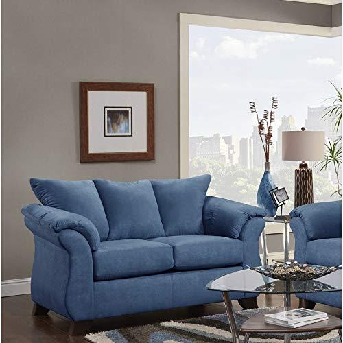 Sofatrendz Corbin Blue Loveseat Solid Modern Contemporary Polyester