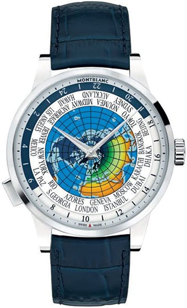 Montblanc Heritage Spirit Orbis Terrarum LATIN UNICEF - Reloj (Reloj de pulsera, Masculino, Acero inoxidable, Acero inoxidable, Cuero, Azul)