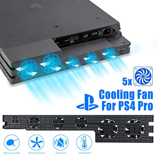 Linkstyle Cooling Fan for PS4 PRO, USB External Cooler 5 Fan Turbo Temperature Control for Sony Playstation Pro Gaming Console