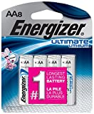 Energizer AA Lithium Batteries, World's Longest Lasting Double A Battery, Ultimate Lithium (8 Count)