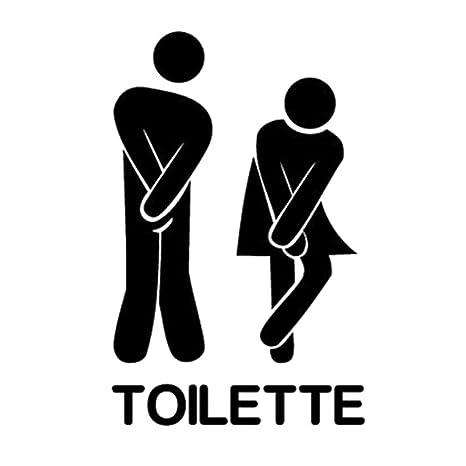 Adesivo porta TOILET toilette bagno divertente insegna sticker mi ...