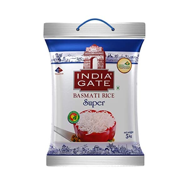 INDIA GATE Super Premium Basmati Rice | Aged Rice with Long Grains & Rich Aroma | 5kg Pack 2021 June India Gate Super Basmati Rice is a premium quality aged Basmati rice Ideal for cooking those special dishes like Rajma Chawal, Chettinad Chicken Curry, Kadhi Chawal, Machhi Bhaat, Sambhar Rice, Lemon Rice and the likes Long and slender grains which elongate up to three times in length when cooked
