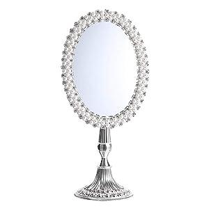 LIHY Miroir de Maquillage- Miroir de Bureau européen Simple côté créatif Princess Dressing Mirror HD Miroir de Maquillage de Bureau Grand