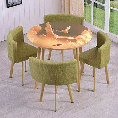Round Table/Wall/Floor Decal Strikers/Removable/Phoenix Bird Shaped Fluffy Cloud in Sunset with Plane Freedom Paint/for Living Room/Kitchens/Office Decoration ()