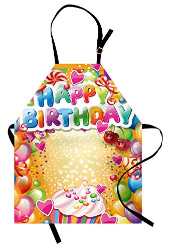 Ambesonne Birthday Apron, Vivid Colored Frameworks with Many Balloons and Cupcake Cherry and Hearts Print, Unisex Kitchen Bib Apron with Adjustable Neck for Cooking Baking Gardening, Multicolor