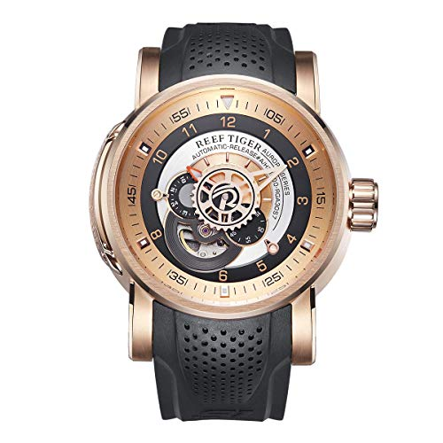 (Reef Tiger Sport Automatic Watches Rose Gold Case Rubber Strap Watch RGA30S7 ... (RGA30S7-PBB))
