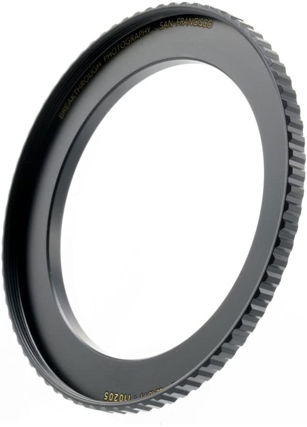 Breakthrough Photography 62mm to 82mm Step-Up Lens Adapter Ring for Filters Made of CNC Machined Brass with Matte Black Electroplated Finish