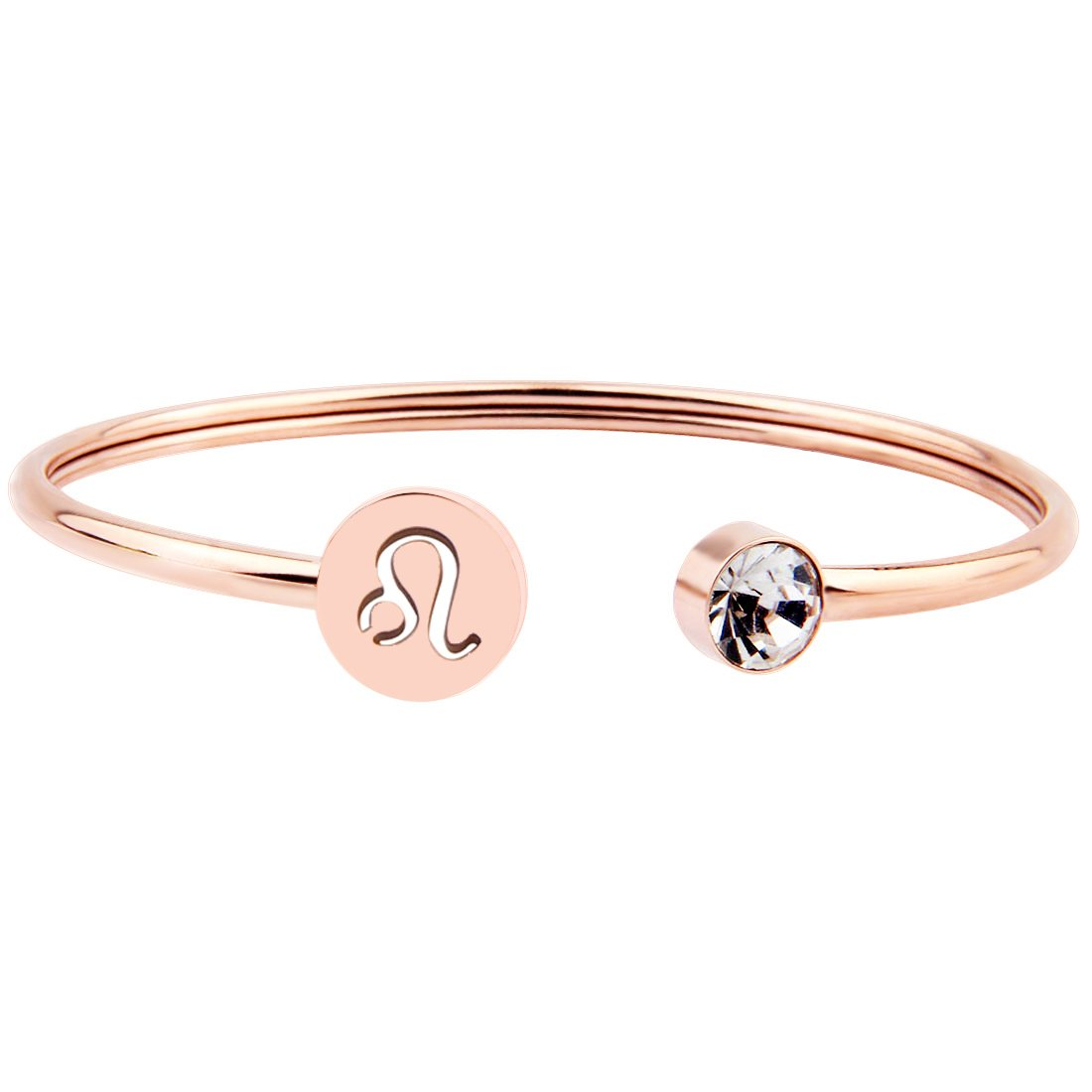 Zuo Bao Simple Rose Gold Zodiac Sign Cuff Bracelet with Birthstone Birthday Gift for Women Girls (Leo) by Zuo Bao (Image #1)