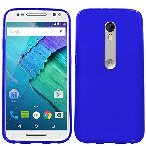 Moto X Style Case, HJ Power[TM] for Motorola Moto X Pure Edition (2015) / X Style (Pure Edition) XT1575 (Unlocked)~ Soft TPU Skin Case Transparent Checker Blue ()
