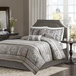 JLA Home INC Bellagio 7 Piece Jacquard Comforter Set Grey Queen