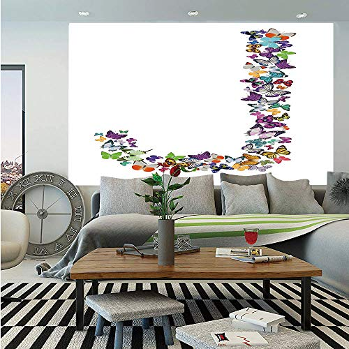SoSung Letter J Huge Photo Wall Mural,Alphabet and Nature Tropical Biological Monarch Collection of Wings Typeset ABC Decorative,Self-Adhesive Large Wallpaper for Home Decor 108x152 inches,Multicolor