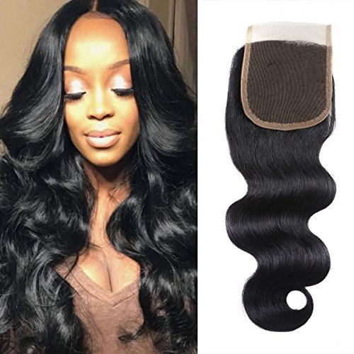 Msjoli Brazilian Virgin Body Wave Lace Closure 12 Inch 100% Unprocessed Human Hair 4x4 Top Lace Closure Free Part