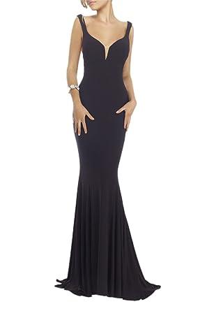 Promworld Womens V-neckline Formal Evening Gowns Low Back Mermaid Prom Dress Black US2