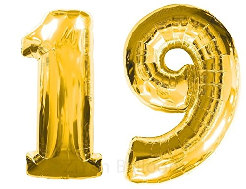 ZIYAN 40 Inch Giant 19th Gold Number Balloons,Birthday