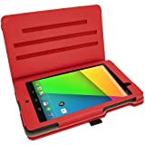 iGadgitz Premium Rotating Red PU Leather Case Cover for Google Nexus 7 FHD 2013 Model 2nd Generation With Auto Sleep Wake + 360 Viewing Angle Stand + Screen Protector