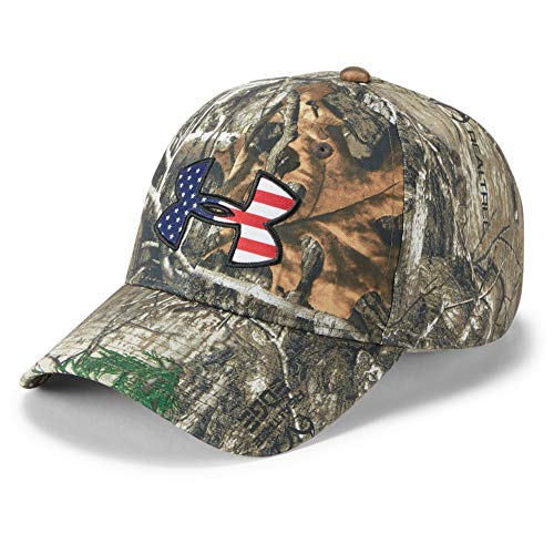 Under Armour Men's Camo Big Flag Logo Hat, Realtree Edge (991)/Scribe Blue, One Size Fits All