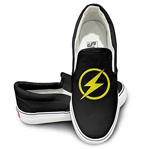 (EWIED Unisex Classic Flash Logo Slip-On Shoes Black Size37)
