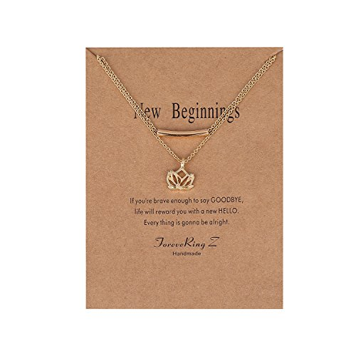 ForeveRing Z Message Card New Beginnings Choker Necklace Lucky Lotus Pendant Necklace Bar Chain Woman Jewelry -
