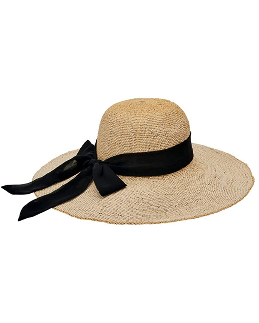 abf06bfd0 San Diego Hat Company Women's Scarf Bow Trim Woven Paper Floppy Hat ...