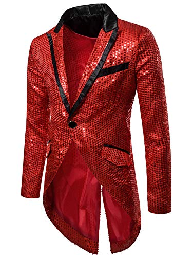 EbuyChX Slim Allover Paillette Embellished Swallow-Tailed Blazer RED 2XL ()