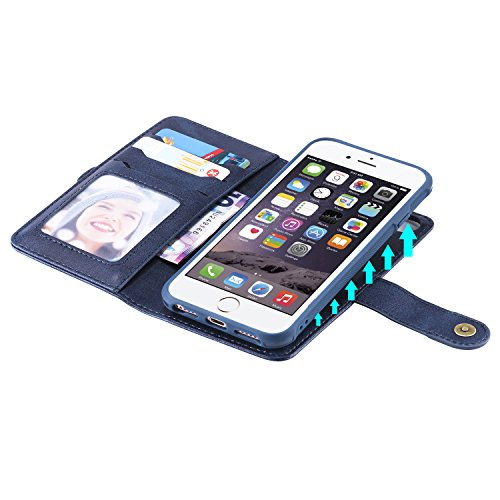 DAMONDY iPhone 8 Case iPhone 7 Case, Detachable 2 in 1 Cover Stand Wallet Purse Card Slot ID Holders Design Flip Cover Pocket Purse Leather Magnetic Protective for iPhone 7/iPhone 8-blue by DAMONDY (Image #8)
