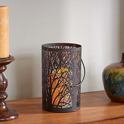 Smart Design 84040-LC Arboretum Lantern with LED Candle, 8-Inch Tall, Metal Lantern With Tree Design For Realistic Candle Powered By One Included Amber - In Stores Arboretum