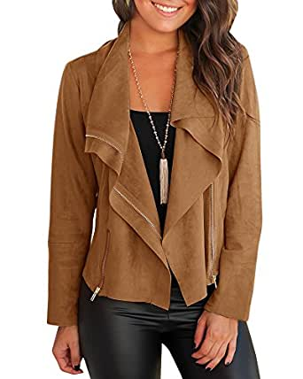Mafulus Women Autumn Lightweight Jackets Faux Suede Zipper Solid Coat Tops Outwear (Small, Brown)