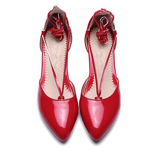 YCMDM tacchi alti delle donne i nuovi pattini di cuoio del brevetto calza i grandi sandali di formato , red , 38