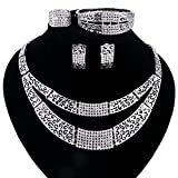 African Beads Jewelry Set Dubai 18K Gold Plated Crystal Women Wedding Party Necklace Earring Jewelry Sets (Silver)