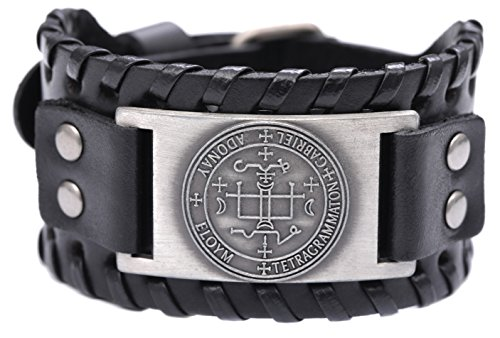 The Sigil of the Archangel GABRIEL for Happy Childhood Talisman Bangle Leather Bracelet ()