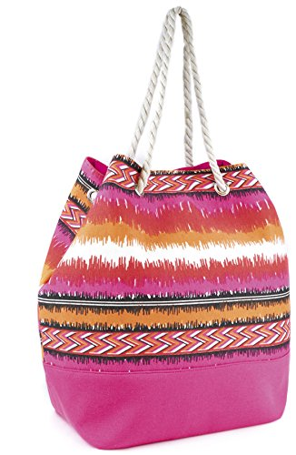Shoulder Canvas with Top Beach Soft Drawstring Shopping Pink Blue Rope Bag gqwdxqC