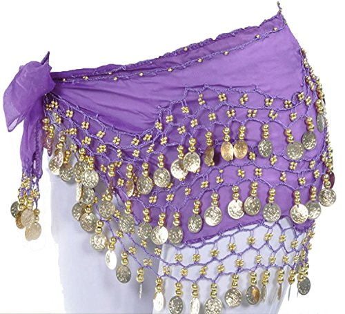 Women Chiffon Gold Coins Belly Dance Hip Scarf (Purple) (Belly Dancer For Party)