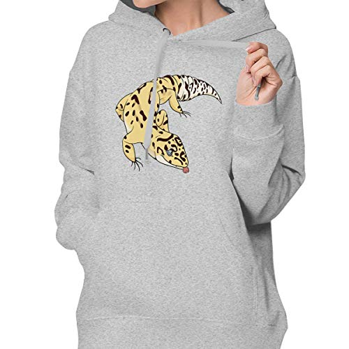 Suining Yellow Leopard Gecko Womens Popular Hooded Sweatshirt Long Sleeve Pullover Drawstring Sports Coat with ()