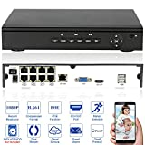 KKmoon 8CH 1080P POE NVR Network Video Recorder H.264 P2P Cloud Phone Control Motion Detection Email Alarm HDMI VGA Output ONVIF for Surveillance IP Camera