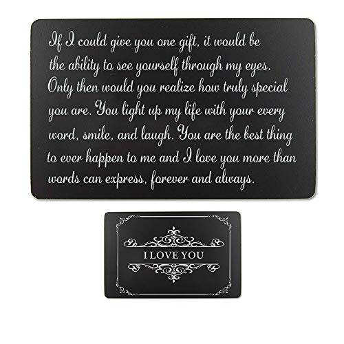 Engraved Wallet Inserts Card Personalized Love Note Gifts for Dad Son Husband (Style 3) (Tall Wallet Insert)