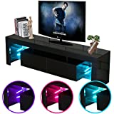Civigrape LED TV Stand, High Gloss Modern 60 TV Cabinet Living Room (Black, 60)