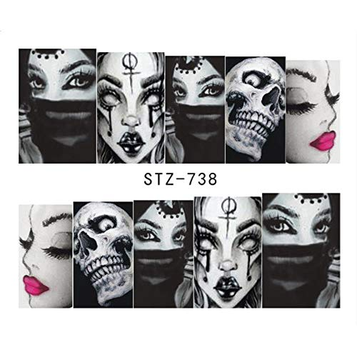 1Pcs Halloween Designs Water Decals Skull Tattoos Sliders For Manicure Water Transfer Sticker Wraps Tips Decoration STZ738]()