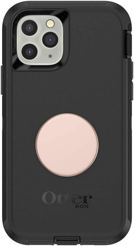 Otter + Pop for iPhone 11 Pro: OtterBox Defender Series Case with PopSockets Swappable PopTop - Black and Aluminum Rose Gold