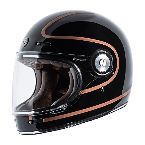 TORC Unisex-Adult T105COP25 Retro Fiberglass Full-Face Style Motorcycle Helmet with Graphic (Copper Pin Gloss Black, X-Large), 1 Pack