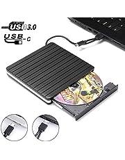 External DVD CD Drive USB 3.0 Type-C, JFUNE Slim Externes CD/DVD Laufwerk DVD ROM Recorder Brenner für Notebook/MacBook Pro/iMac/MacBook Air/Desktop, unterstützt Windows 10/7/8/XP/Vista/Linus/Mac OS