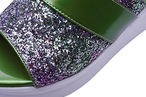 Amoonyfashion Womens Assorted Colour Blend Materials Kitten Hakken Open Teen Pull On Slippers Green