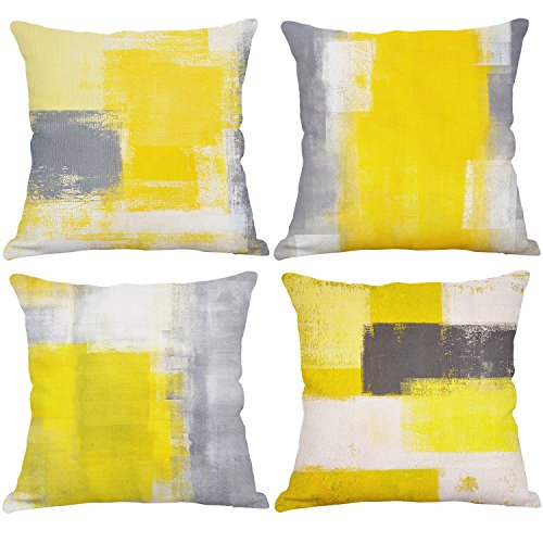 (Set of 4 Yellow Throw Pillow Covers Decorative Cotton Linen Square Cushion Covers Outdoor Couch Sofa Home Pillow Covers 20x20 Inch)