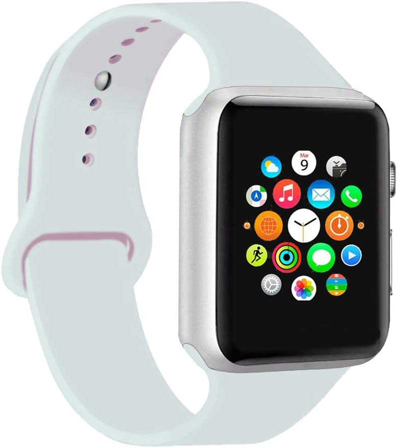 CoJerk Compatible for Apple watch Band 38mm 40mm 42mm 44mm,Replacement Band for iWatch Series 4/3/2/1 (White, 42mm/44mm-ml)